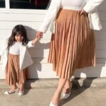 Mommy And Daughter Solid Color Pleated Skirt Wholesale Family Matching 3