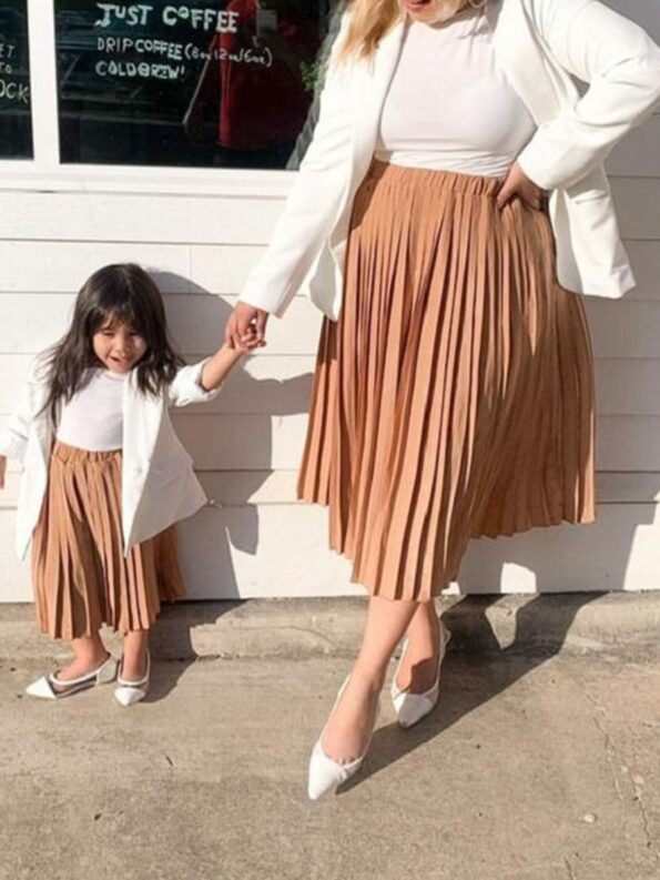 Mommy And Daughter Solid Color Pleated Skirt Wholesale Family Matching 6