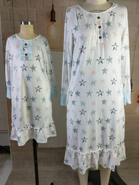 Mommy And Daughter Printed Homewear Dress Wholesale Family Matching Dresses 2021-09-10