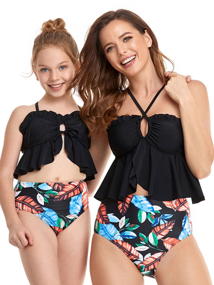 Mommy And Daughter Leaf 2 Pieces Swimsuit Wholesale Family Matching FAMILY MATCHING 2021-09-09