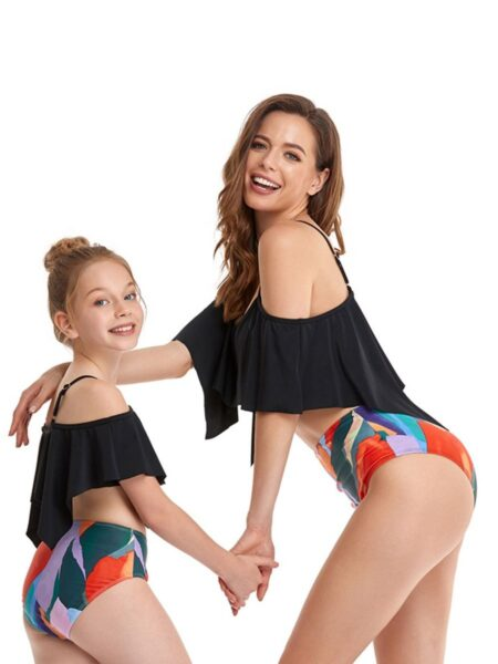 2-Pieces Mom And Daughter Off-shoulder Swimsuit Beachwear Wholesale Family Matching FAMILY MATCHING 2021-09-09