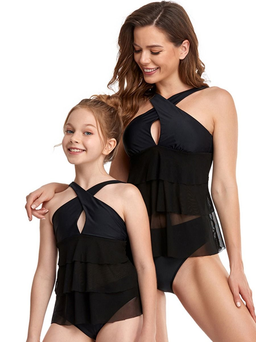 Mother And Daughter Solid Color Two Pieces Swimsuit Wholesale 2