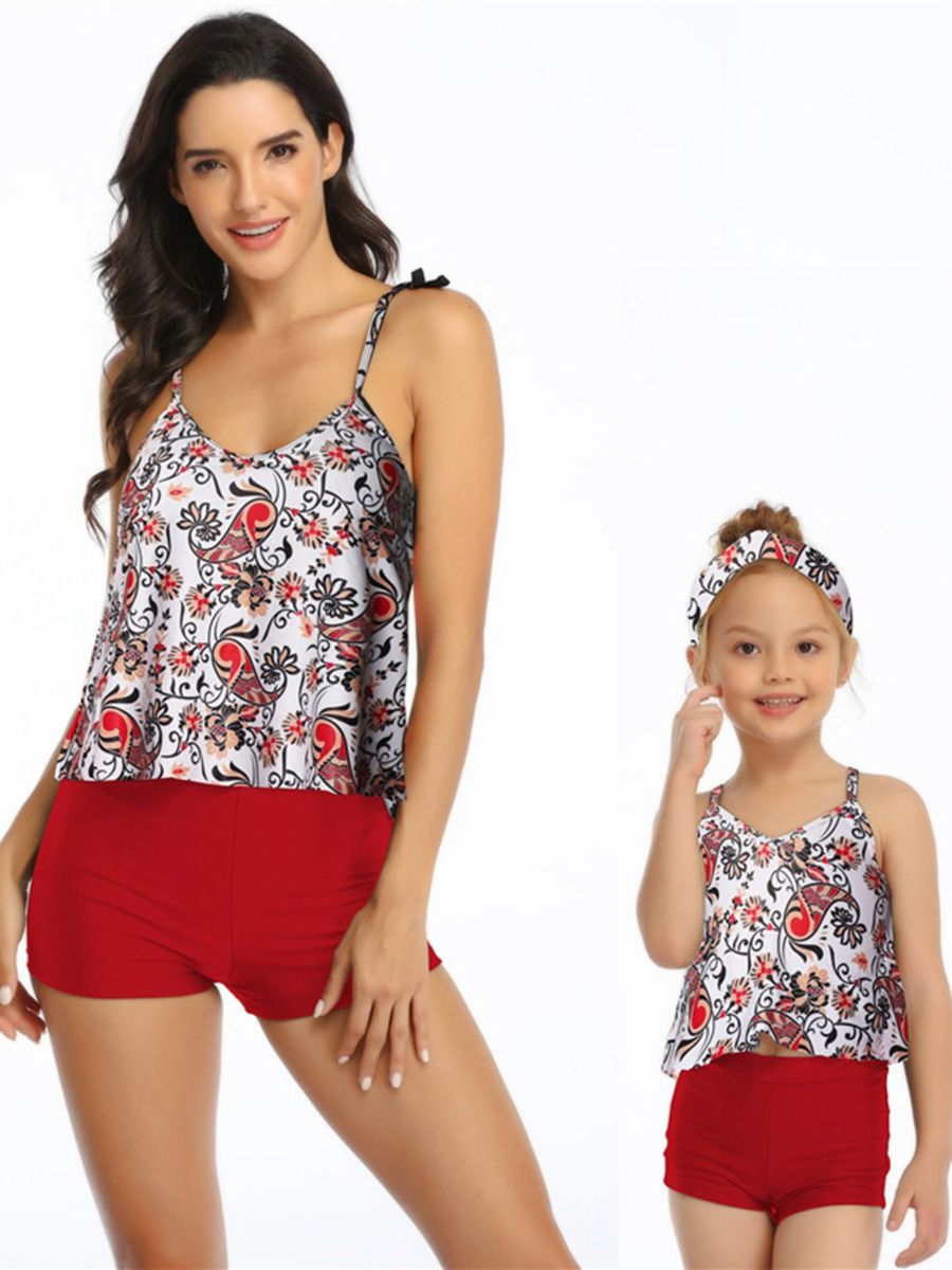 Mom and Daughter Flower Two Pieces Swimwear Wholesale Family Matching FAMILY MATCHING 2021-09-09
