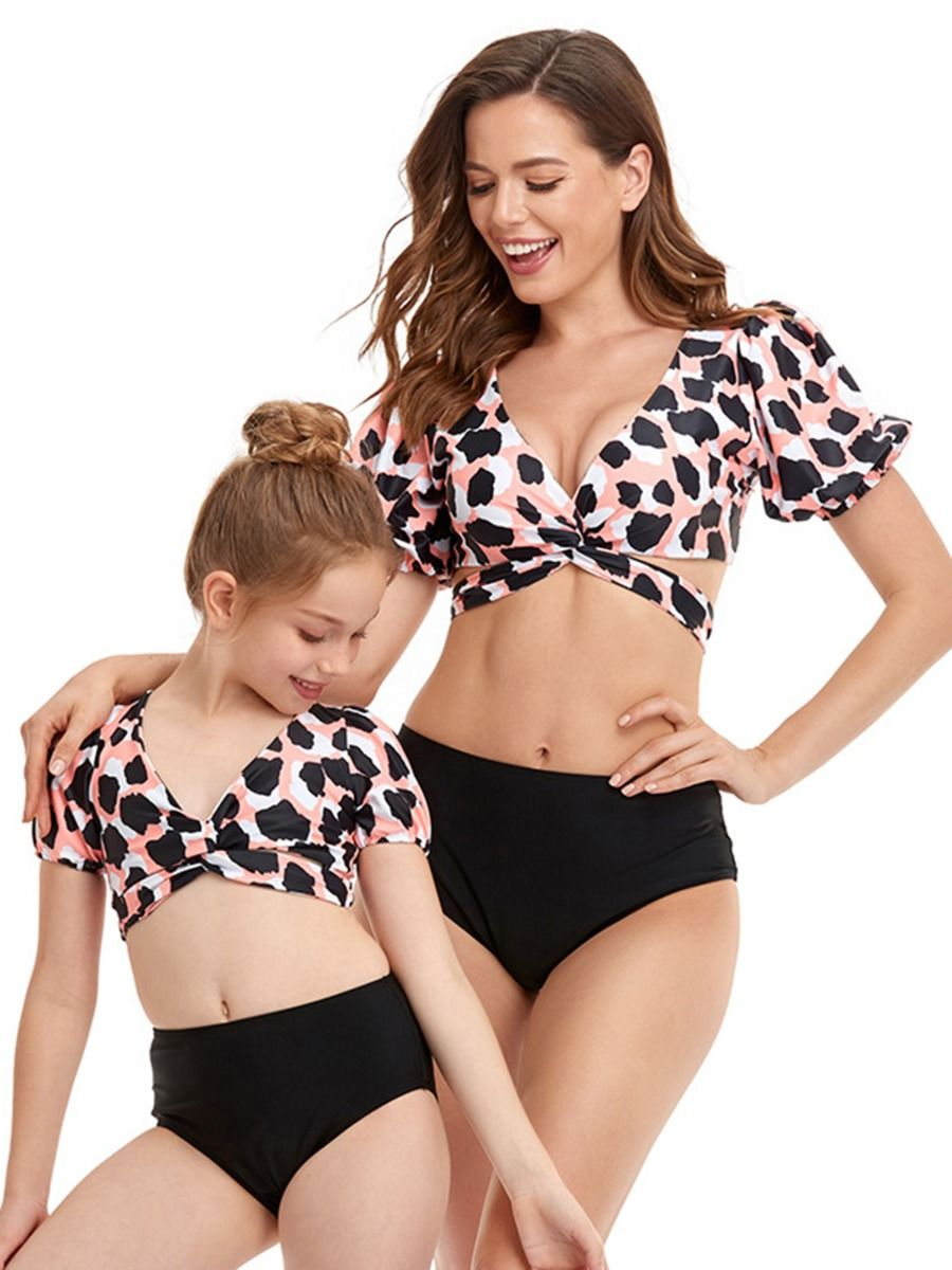 Mommy and Me Printed Two Piece Swimwear Wholesale FAMILY MATCHING 2021-09-09