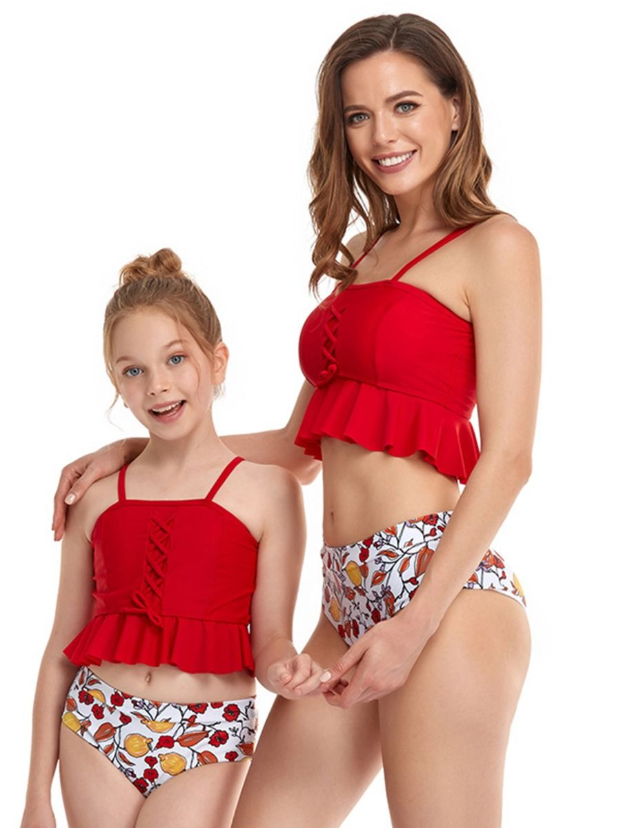 Mommy and Me Solid Color Tassel Chiffion Cami Dress Wholesale Family Matching Dresses 2021-09-09