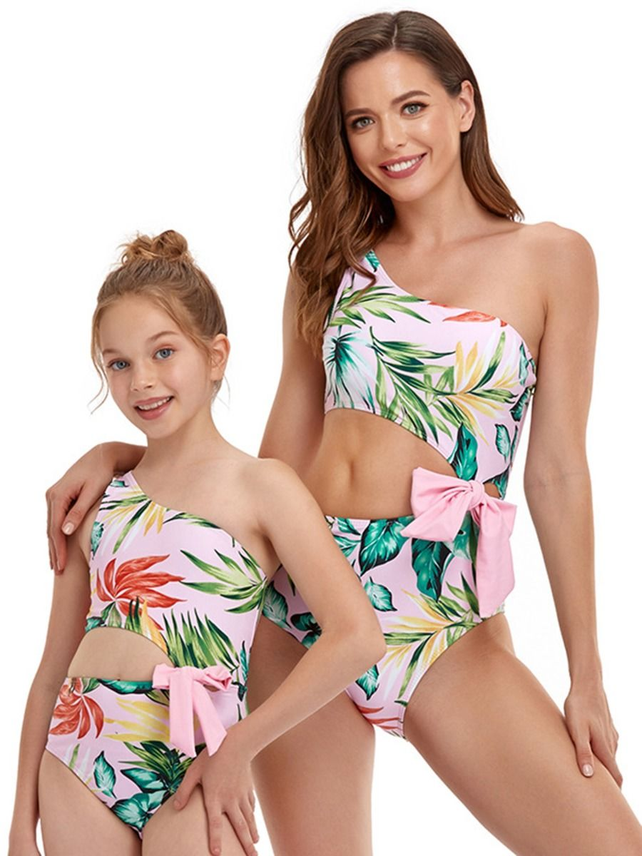 Mommy And Me Leaves One Shoulder One Piece Swimsuit Wholesale Family Matching FAMILY MATCHING 2021-09-09