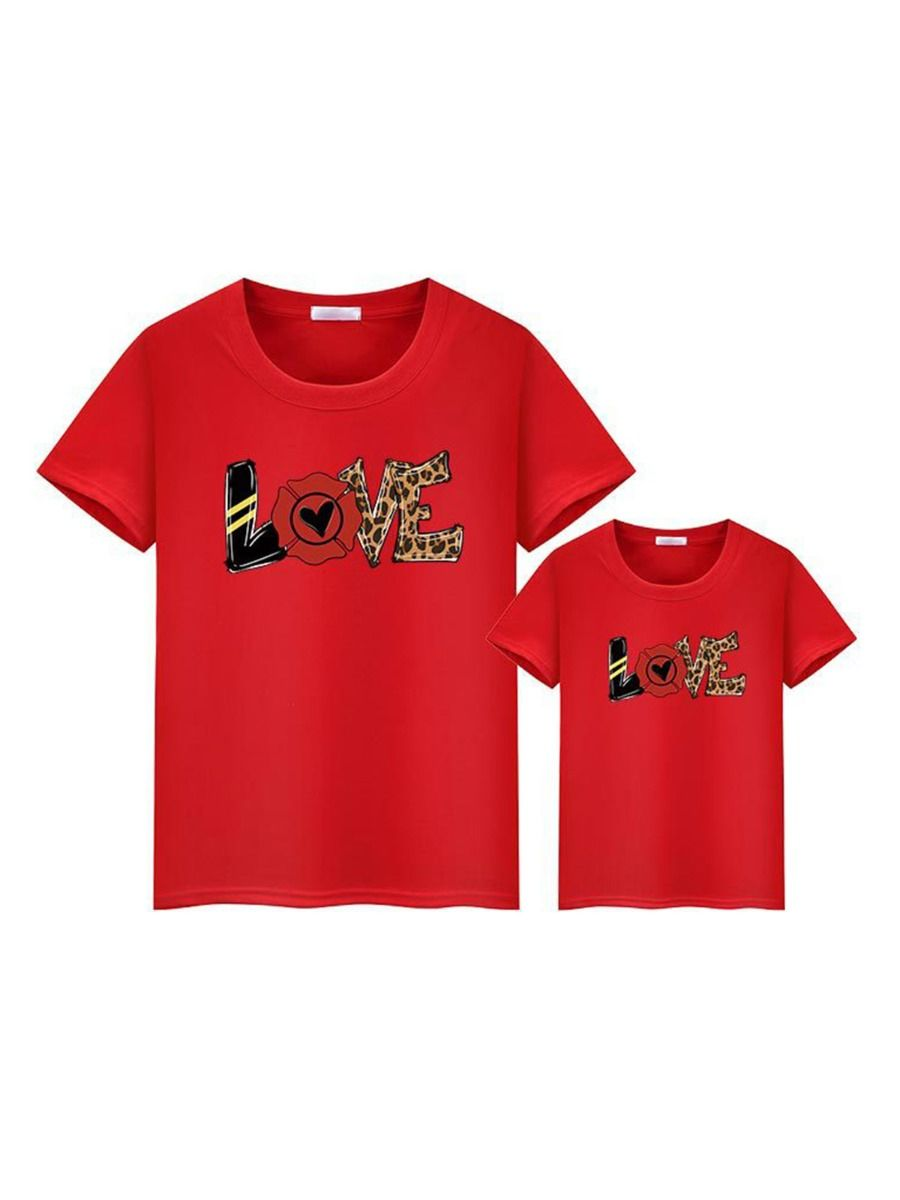 Mommy And Daughter Love Heart Flower Leopard Tshirt Wholesale