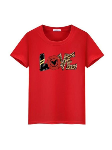 Mommy And Daughter Love Heart Flower Leopard Tshirt Wholesale 2