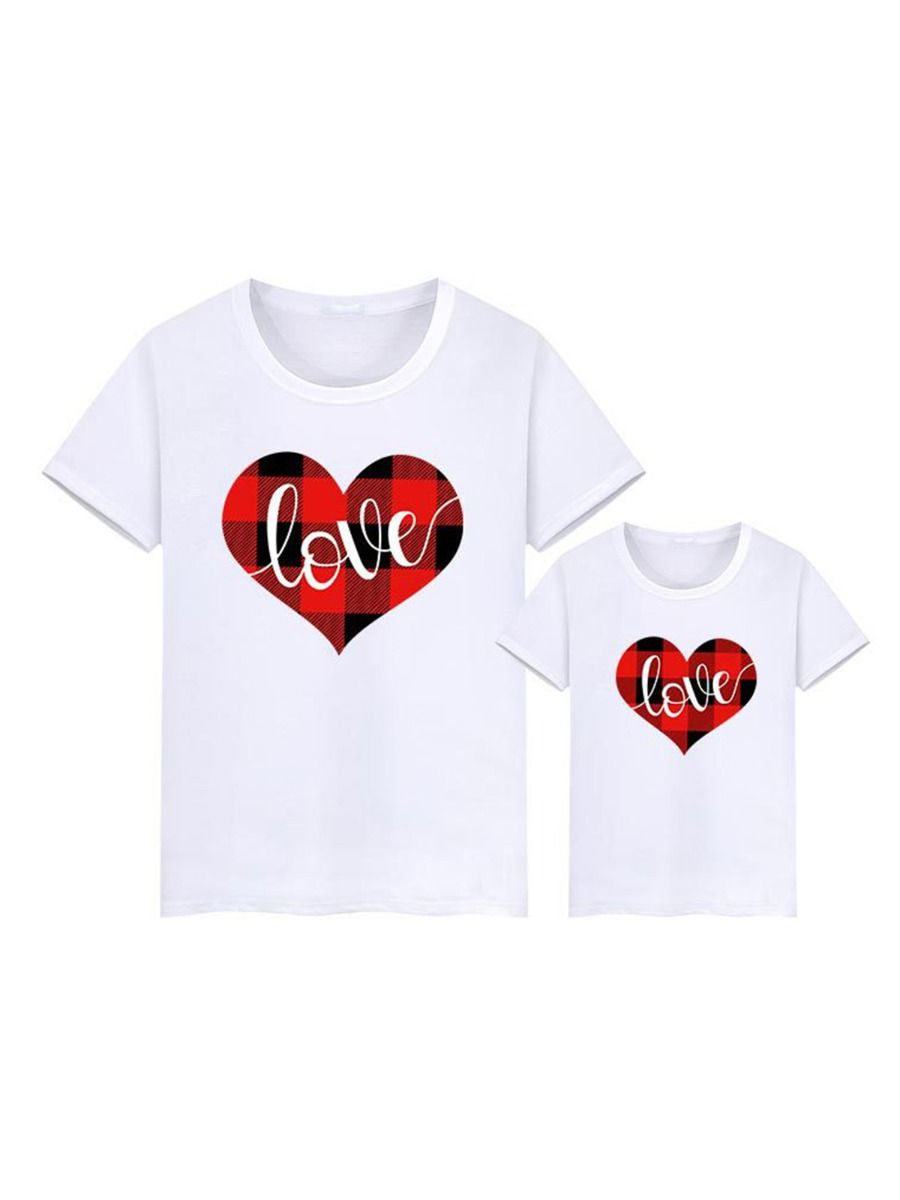 Mommy And Me Checked Love Heart Tshirt Wholesale Family Matching