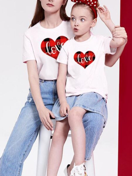 Mommy And Me Checked Love Heart Tshirt Wholesale Family Matching 2