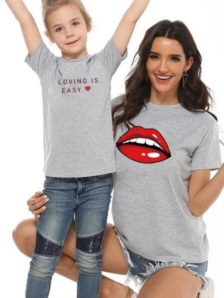 Mommy And Me Lips & Letters Tee Wholesale Family Matching FAMILY MATCHING 2021-09-08