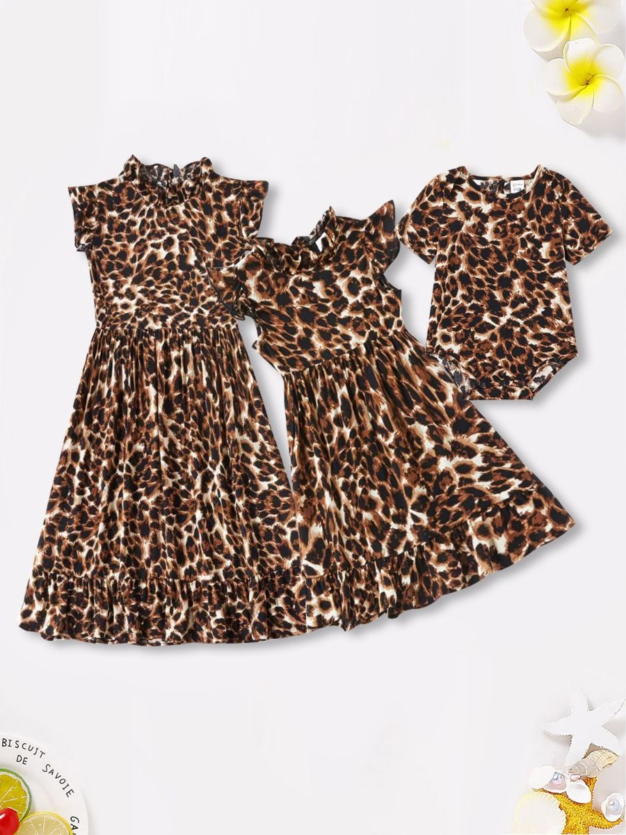 Mummy And Me Leopard Dress Wholesale Family Matching