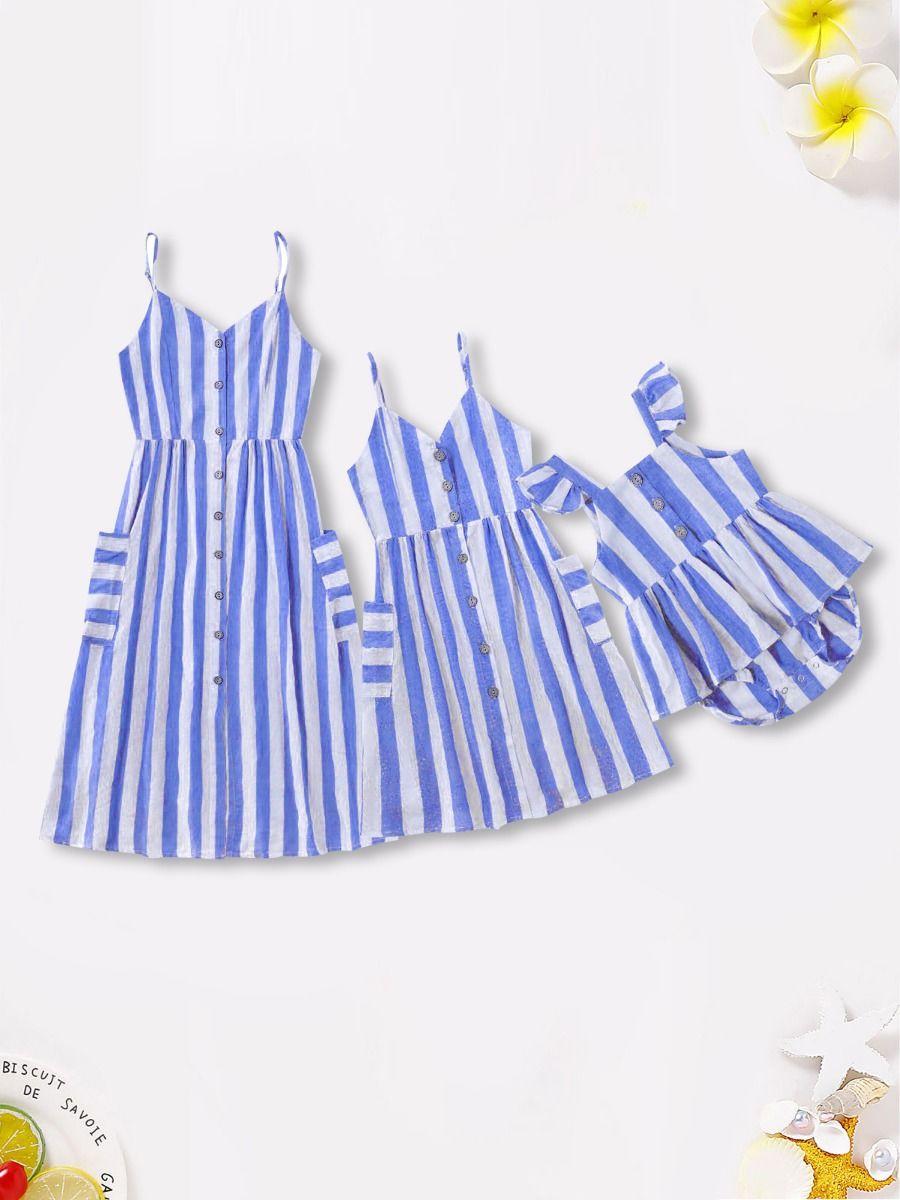 Mom And Me Button Trim Stripe Cami Dress Wholesale Dresses 2021-09-07