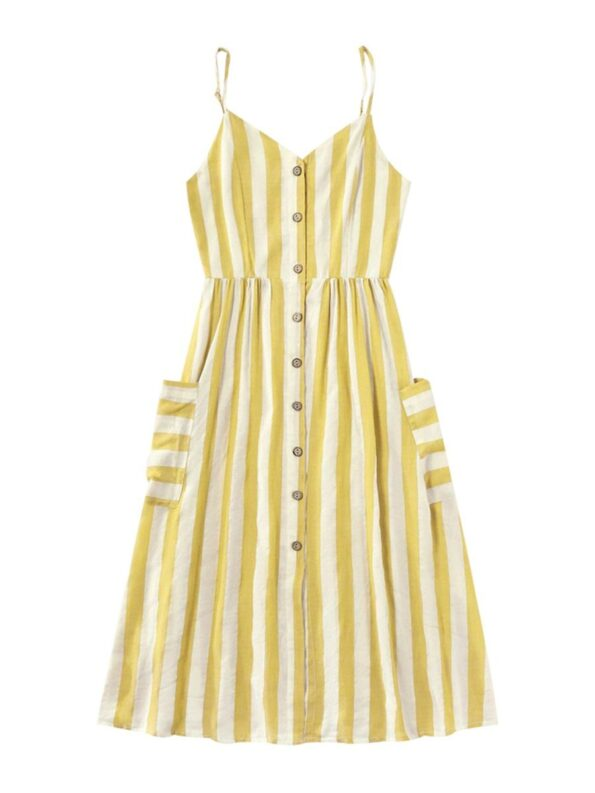 Mom And Me Button Trim Stripe Cami Dress Wholesale 10
