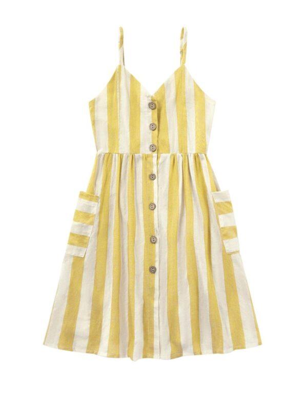 Mom And Me Button Trim Stripe Cami Dress Wholesale 9