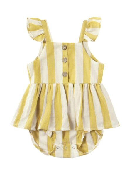 Mom And Me Button Trim Stripe Cami Dress Wholesale FAMILY MATCHING 2021-09-07