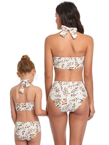 Mommy And Me Two Pieces Print Bow Swimsuit Wholesale Family Matching MOMMY & ME 2021-09-07