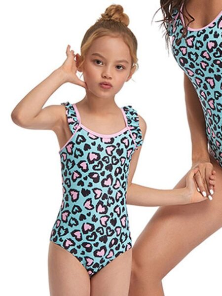 Mom And Daughter Leopard Print Zipper One Piece Swimsuit Wholesale Family Matching 2