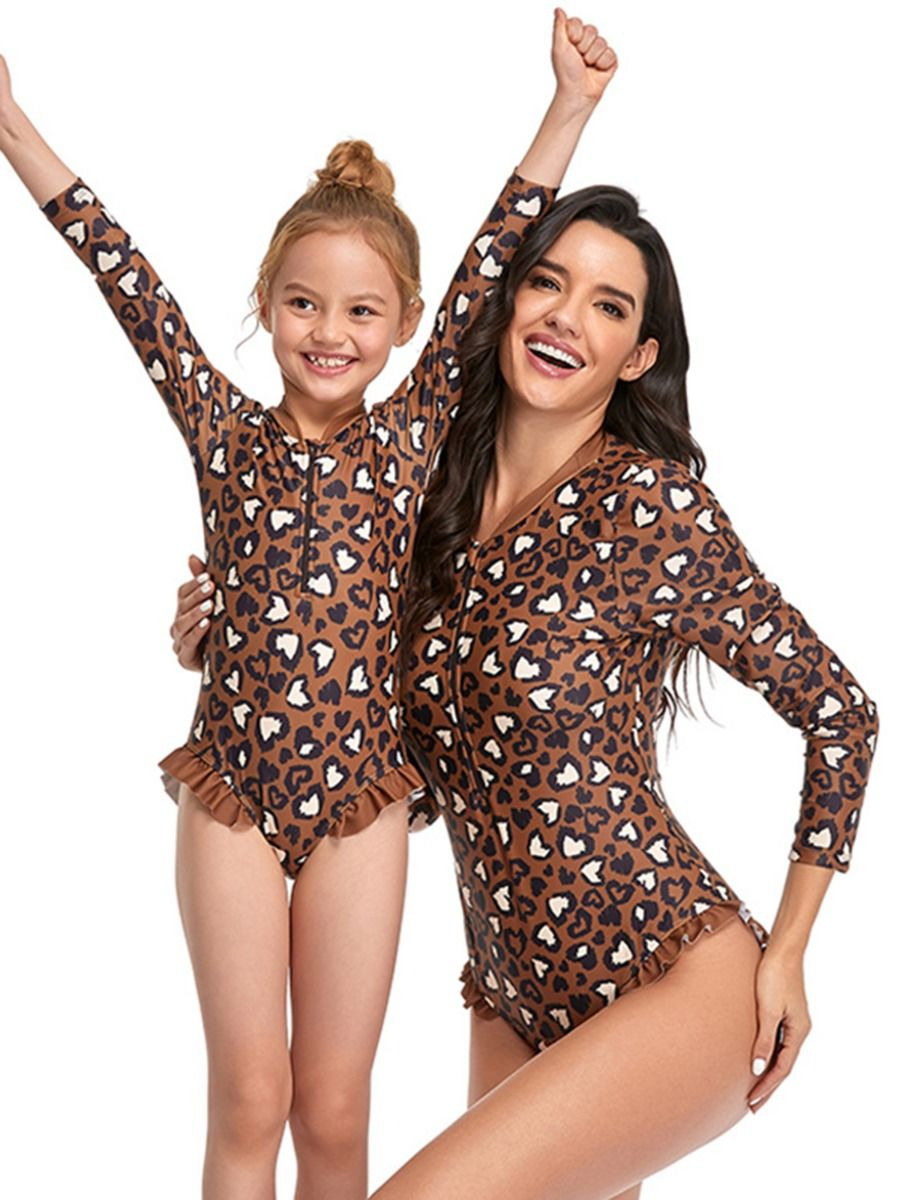 Mom And Daughter Leopard Print Zipper One Piece Swimsuit Wholesale Family Matching