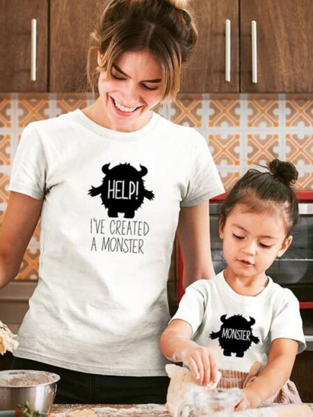 Mommy & Kids Monster Letter Print Tee Wholesale Family Matching FAMILY MATCHING 2021-09-06
