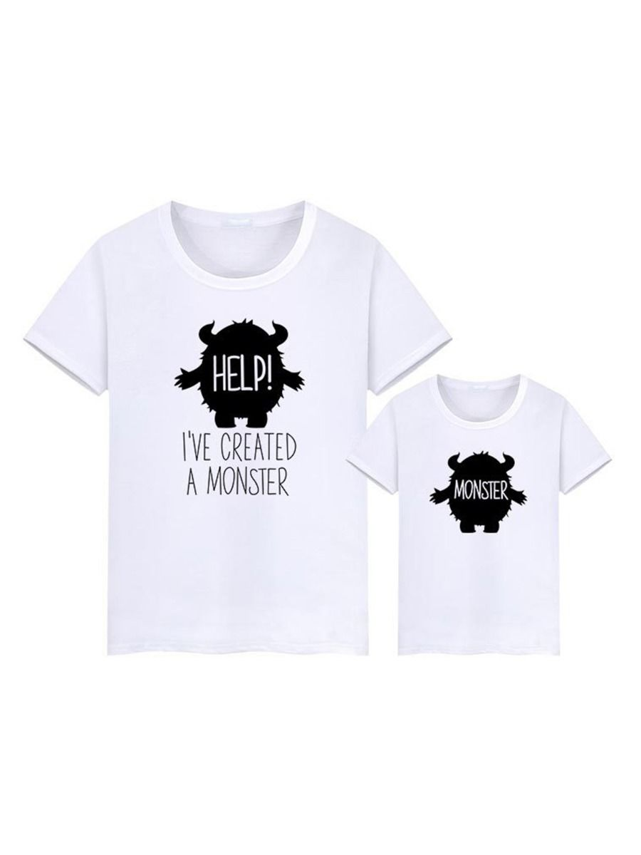 Mommy & Kids Monster Letter Print Tee Wholesale Family Matching FAMILY MATCHING 2021-09-07