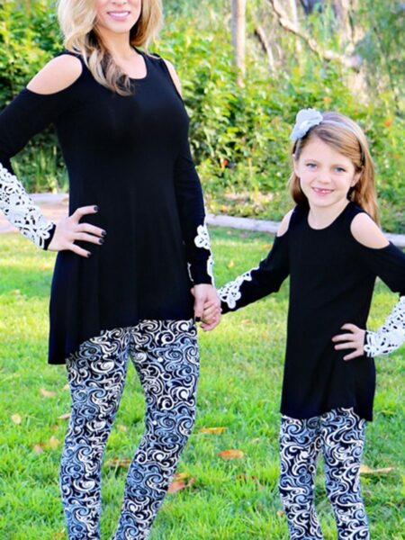 Mom And Me Cold Shoulder Top Wholesale Family Matching FAMILY MATCHING 2021-09-04