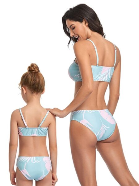 Mommy And Me Leaves Print Beach Wear Bikini Wholesale Family Matching FAMILY MATCHING 2021-09-06