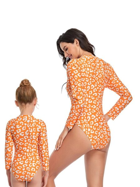 Mommy And Me Flower & Leopard Print One Piece Swimsuit Wholesale Family Matching FAMILY MATCHING 2021-09-06