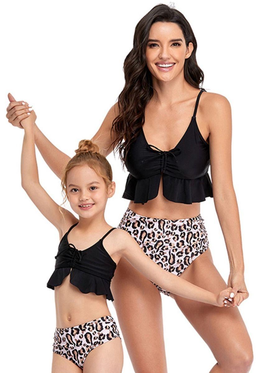 Mommy And Me Flower Leopard Print Ruffle Bikini Wholesale Family Matching FAMILY MATCHING 2021-09-06