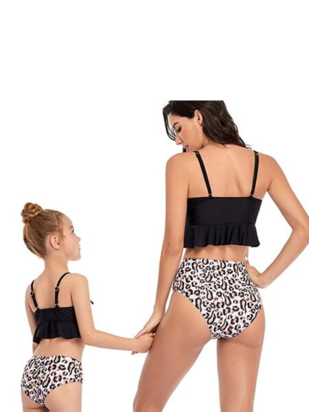 Mommy And Me Flower Leopard Print Ruffle Bikini Wholesale Family Matchin FAMILY MATCHING 2021-09-06
