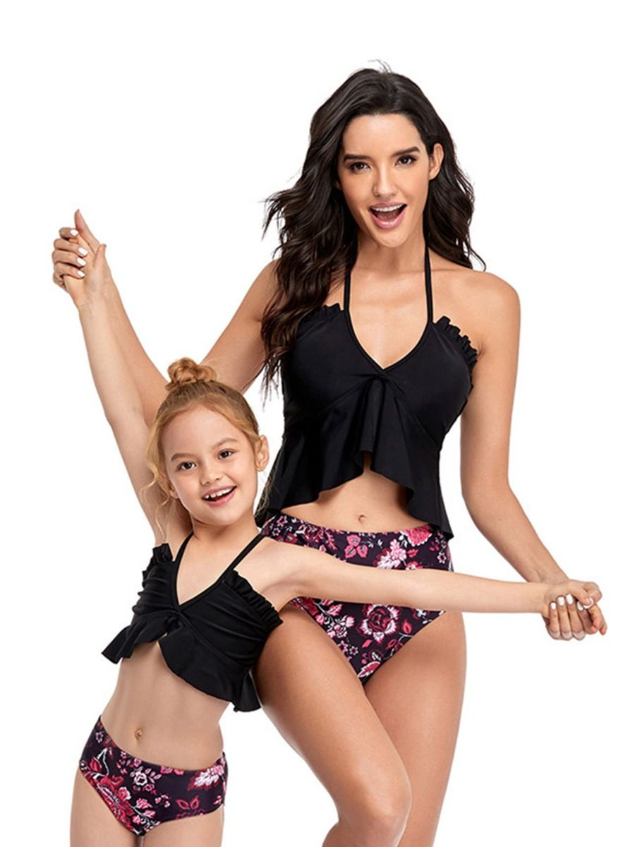 Mommy and Me Two Pieces Swimsuits Floral Print Wholesale Family Matching 2