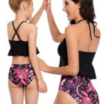 Mommy and Me Two Pieces Swimsuits Floral Print Wholesale Family Matching 3