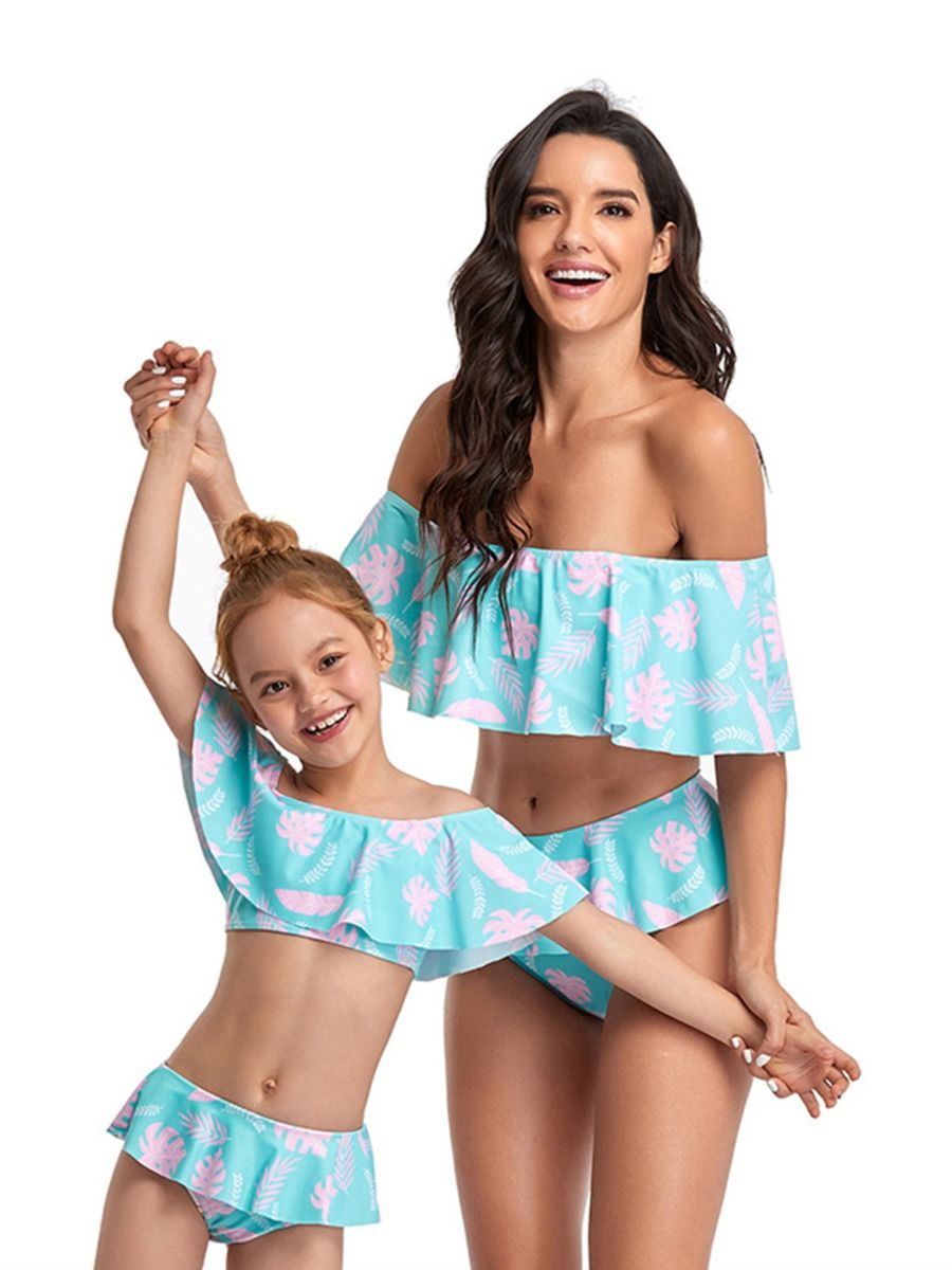Mom And Daughter Off-shoulder Flounce Swimwear Set Wholesale Family Matching FAMILY MATCHING 2021-09-06