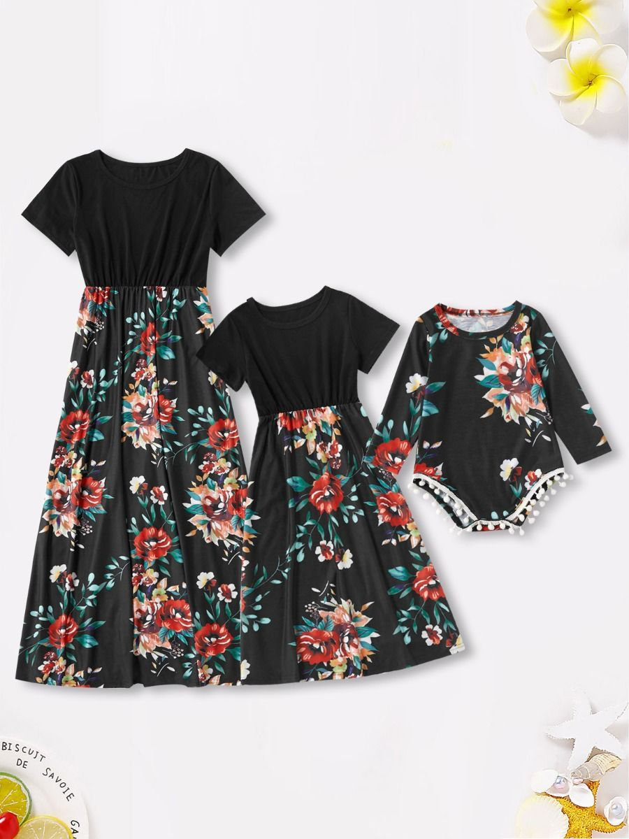 Mommy And Girl Print Tee Dress Wholesale Dresses 2021-09-04