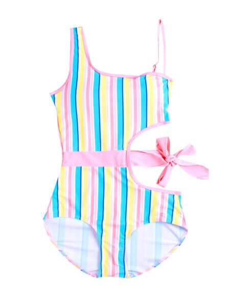Mom And Daughter Cut-out Striped Bathing Suits Wholesale Family Matching 2