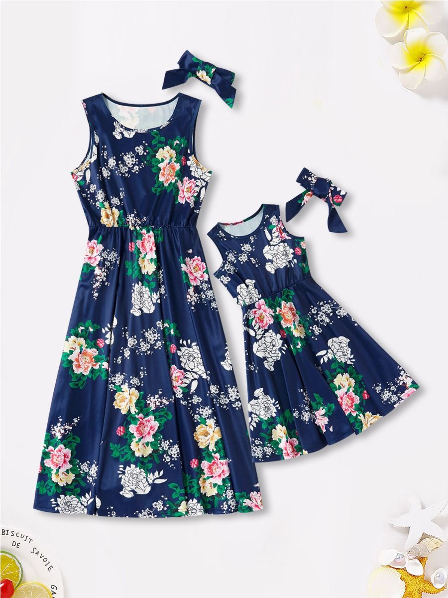 Mom And Me Allover Floral Print Tank Dress Wholesale 2