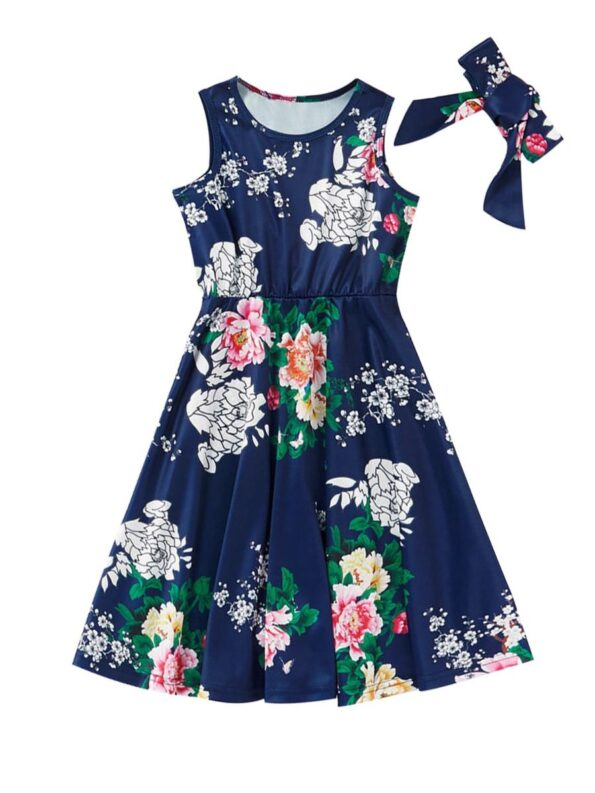 Mom And Me Allover Floral Print Tank Dress Wholesale 9