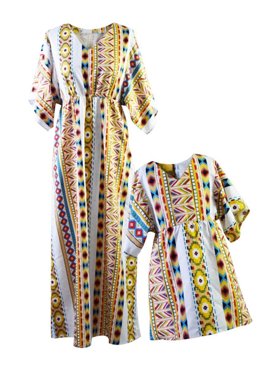 Mom And Girl Ethnic Style V-neck Dress Wholesale Family Matching Dresses 2021-09-04