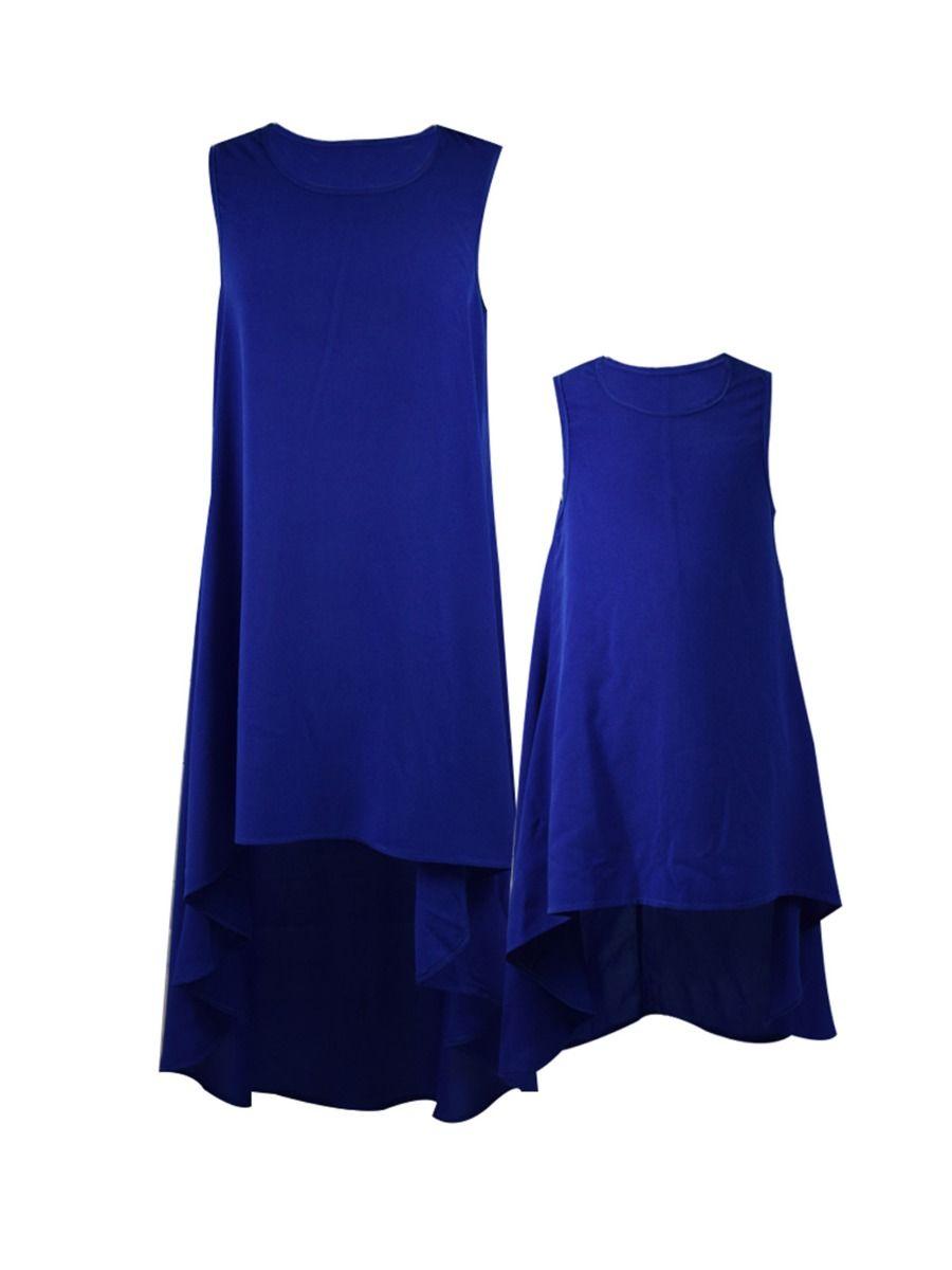 Mommy And Girl Hi-Lo Hem Solid Color Tank Dress Wholesale Dresses 2021-09-04