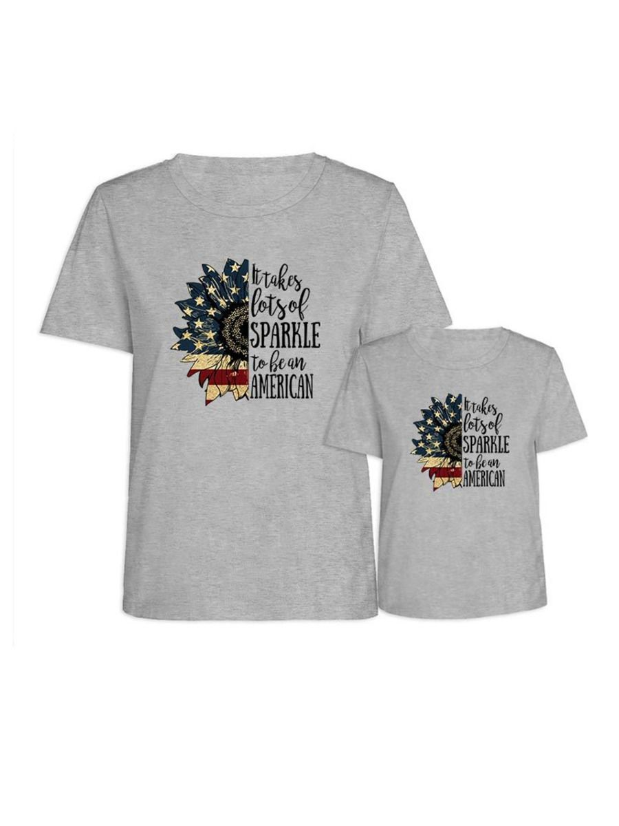 Flower Pattern Independence Day Mom And Daughter Tee Wholesale Family Matching 7