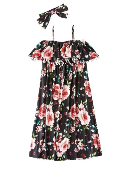 Mom And Me Floral Print Off Shoulder Dress Wholesale Family Matching Dresses 2021-09-03