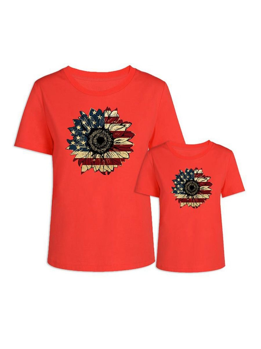 Flower Pattern Independence Day Mom And Daughter Tee Wholesale Family Matching 2