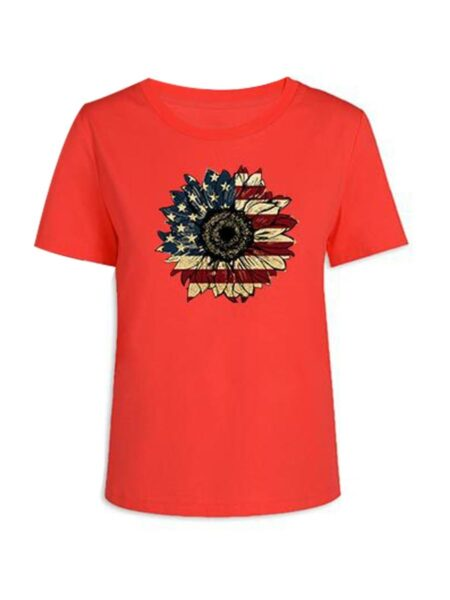 Flower Pattern Independence Day Mom And Daughter Tee Wholesale Family Matching FAMILY MATCHING 2021-09-04