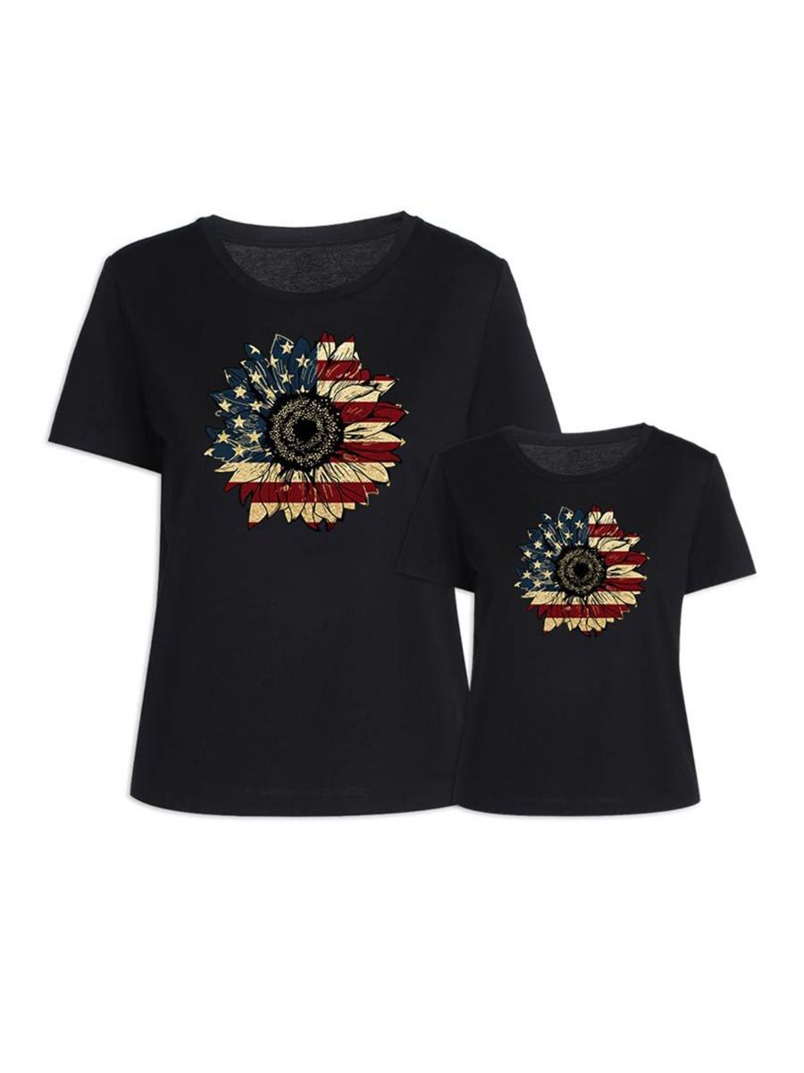 Flower Pattern Independence Day Mom And Daughter Tee Wholesale Family Matching 8