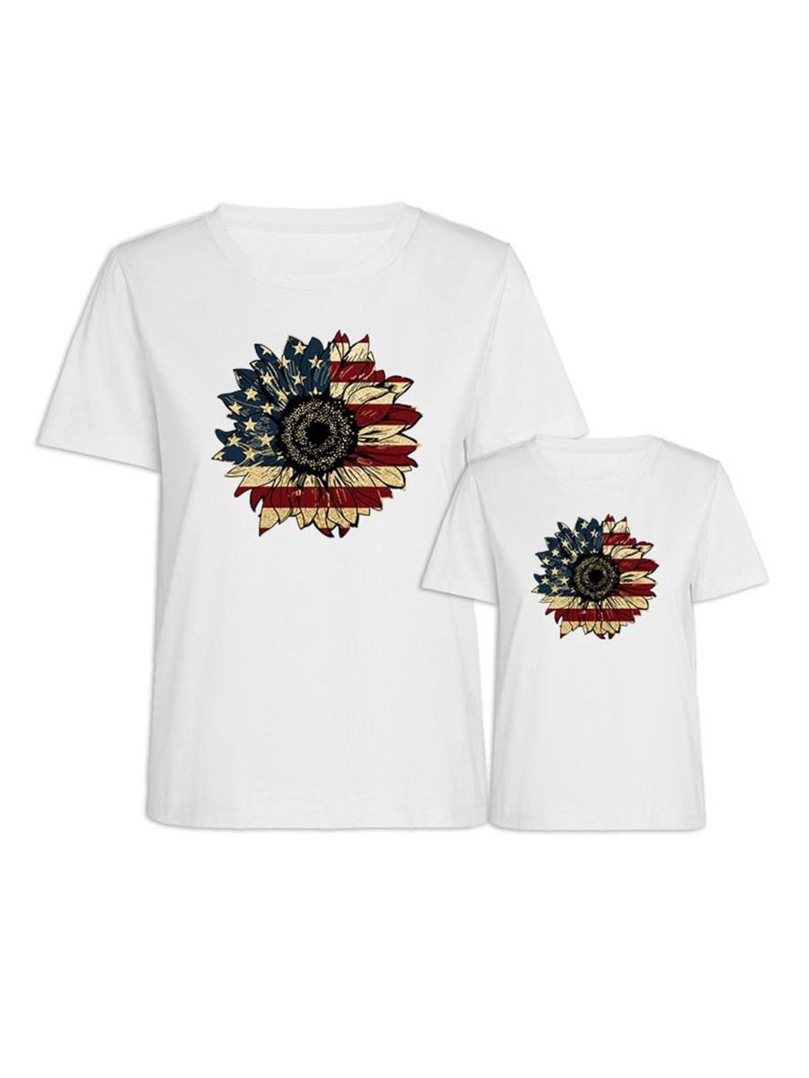 Flower Pattern Independence Day Mom And Daughter Tee Wholesale Family Matching 9