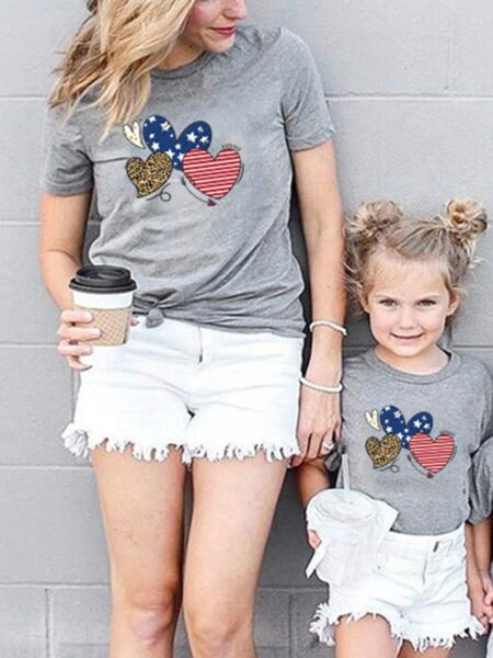 Mom And Me Love Heart Print Independence Day T-shirt Wholesale Family Matching FAMILY MATCHING 2021-09-03