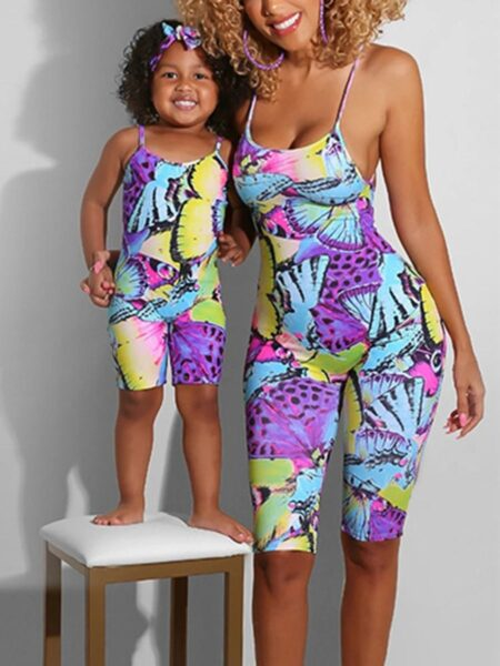 Mom And Me Butterfly Print Cami Romper Wholesale Family Matching FAMILY MATCHING 2021-09-03