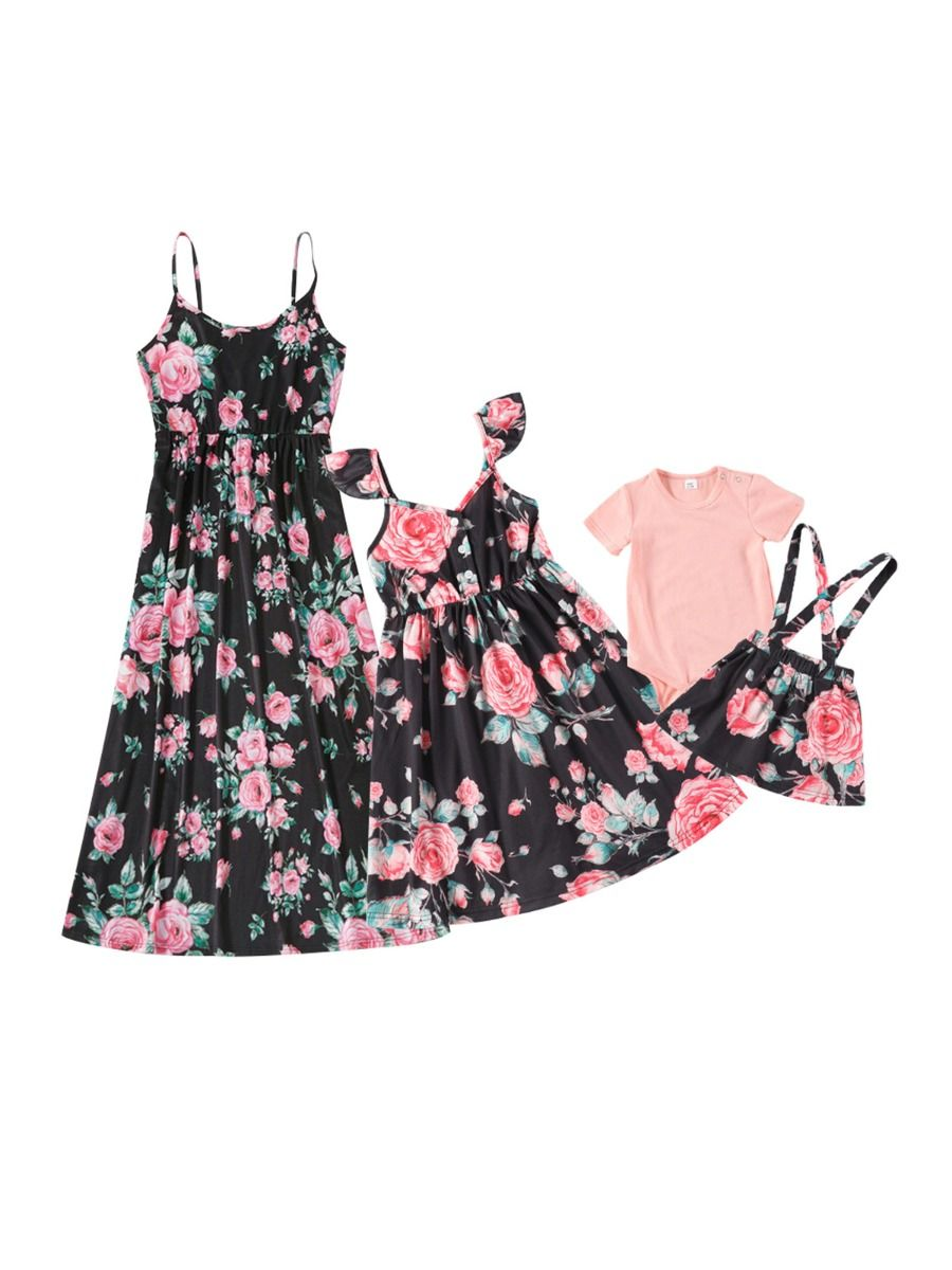 Mommy And Me Floral Print Matching Set Bodysuit Suspender Skirt Dress Wholesale