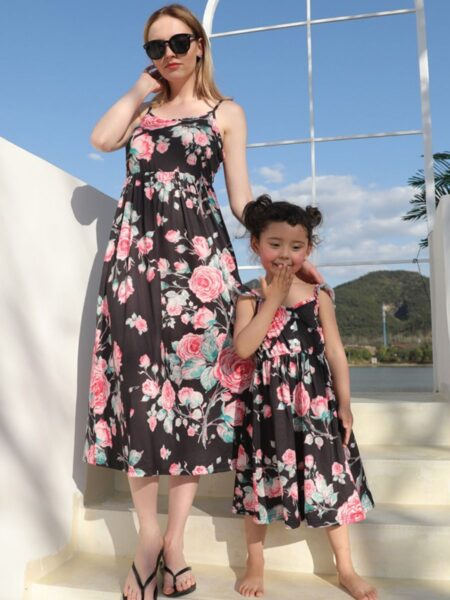 Mommy And Me Floral Print Matching Set Bodysuit Suspender Skirt Dress Wholesale 2
