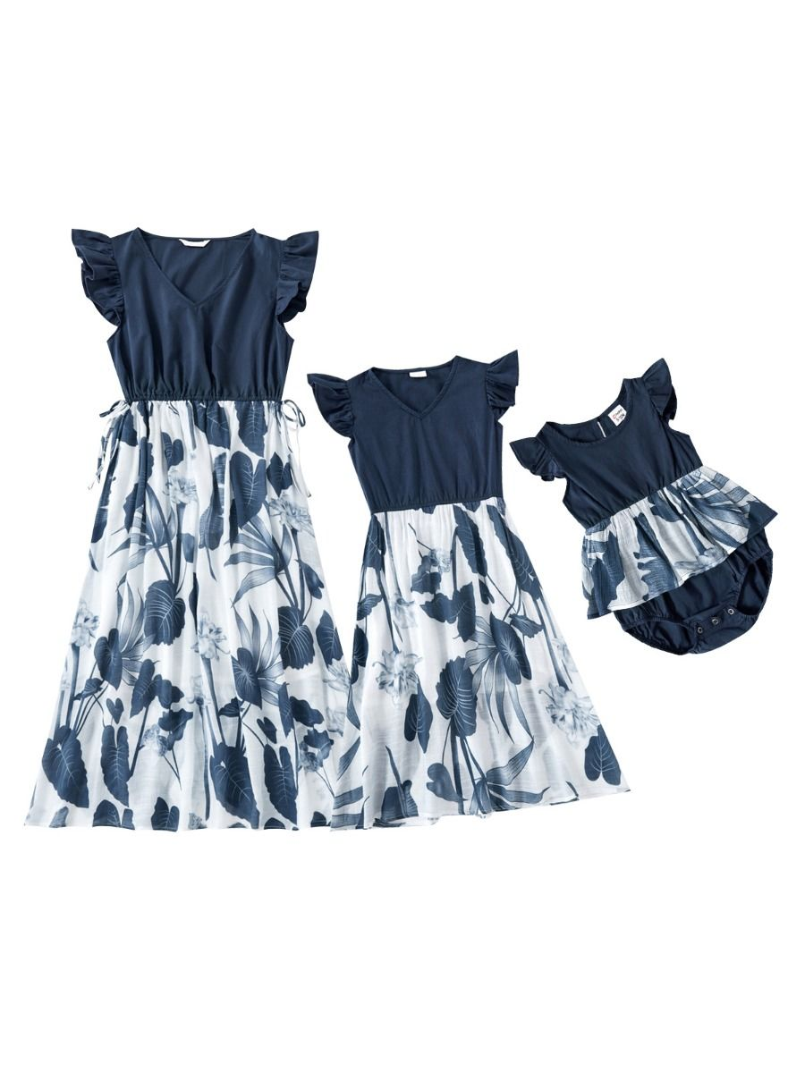 Mommy And Me Leaves Peplum Bodysuit Dress Wholesale FAMILY MATCHING 2021-09-01